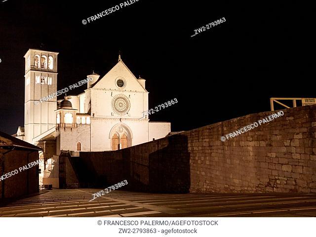 Facade of church at night illuminated. Assisi, Umbria. Italy