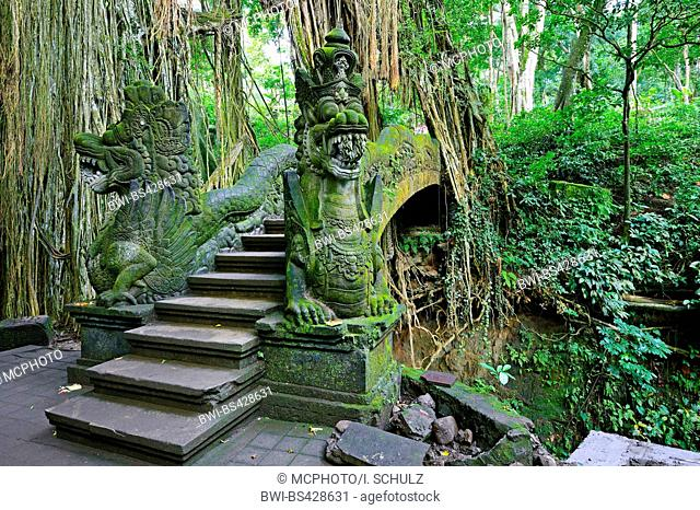 stairs and statues in the Ubud Monkey Forest, Indonesia, Bali, Ubud