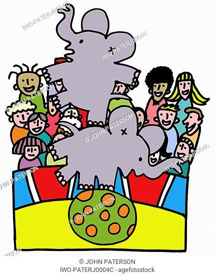 Two Elephants Balancing on Ball