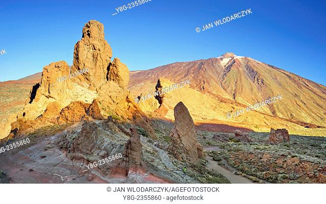 Roques de Garcia and Mount Teide, Teide National Park, Canary Islands, Tenerife, Spain