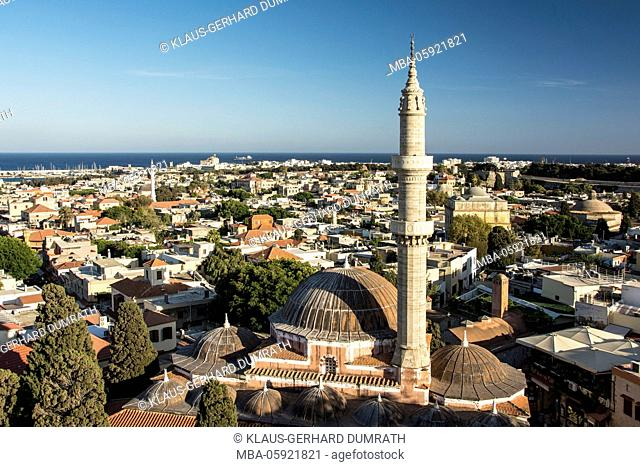 Rhodes, view to the town with Suleymaniye Mosque