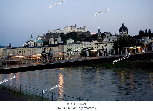 city view Salzburg with fort Hohensalzburg and river, Austria, Salzburg, Salzburg city, Salzburg city - castle Hohe Salzburg