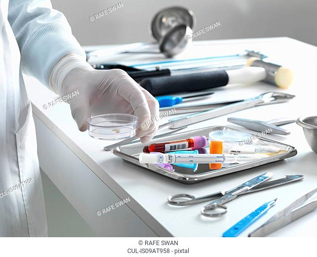 Pathologist taking a sample for analysis during a autopsy