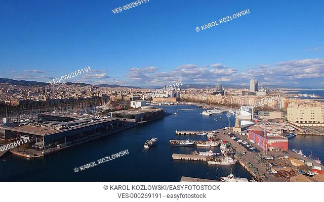 Aerial view of the Port Vell in Barcelona, Catalonia, Spain
