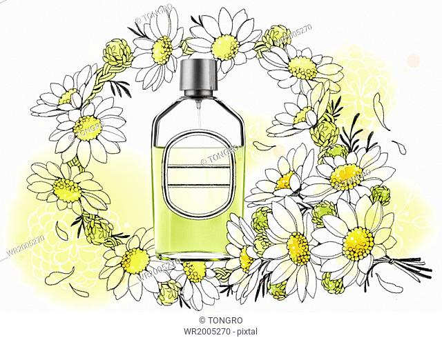a cosmetic bottle surrounded by flowers