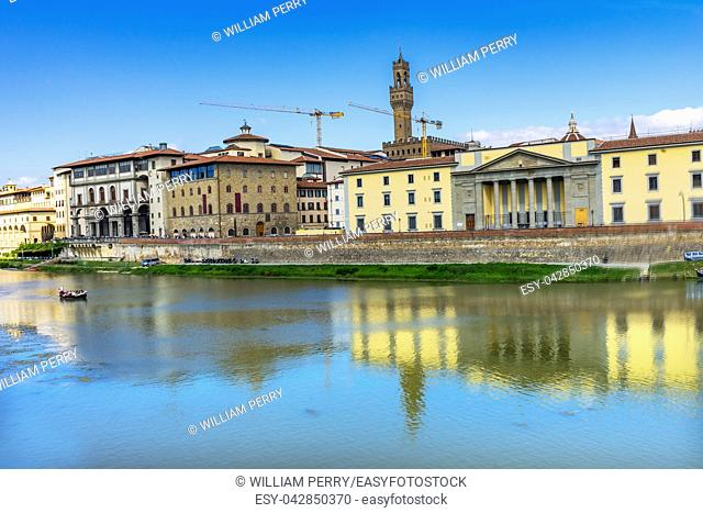 Palazzo Vecchio Arno River Florence Tuscany Italy. Built in the 1300s the Palazzo Vecchio is the political center of Florence