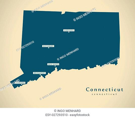 Modern Map - Connecticut USA federal state illustration silhouette