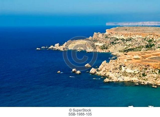 Republic of Malta, Malta Island, Ghajn Znuber Coast, aerial view
