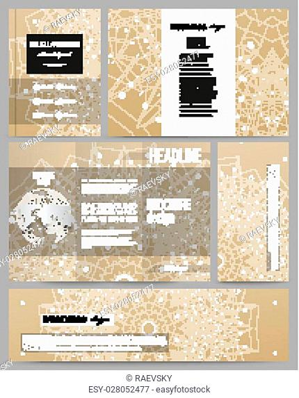 Set of business templates for presentation, brochure, flyer or booklet. Abstract polygonal backdrop with connecting dots and lines, golden background