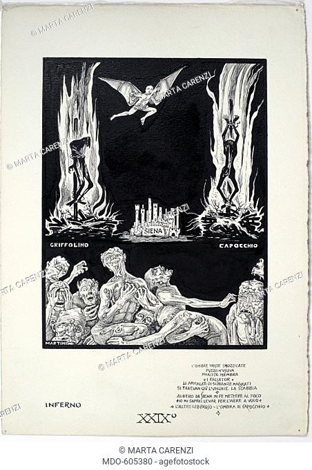 Dantesque Album (Album Dantesco), by Alberto Giacomo Spiridione Martini known as Alberto Martini, 1920 - 1930, 20th Century, pencil, Indian ink, gouache
