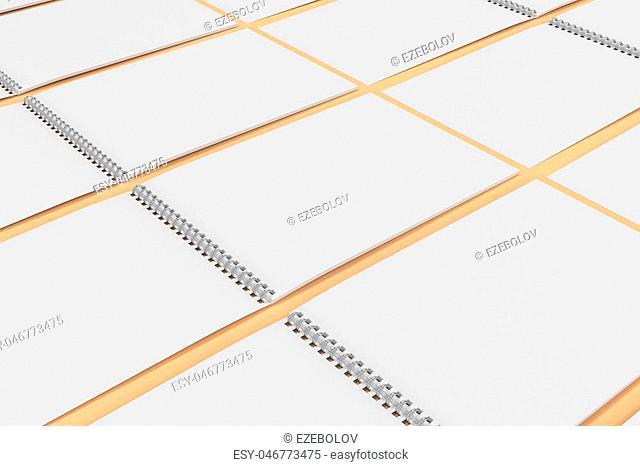 Blank white notebook with metal spiral bound on orange background. Grid of open sketchbooks. Business or education mockup. 3D rendering illustration