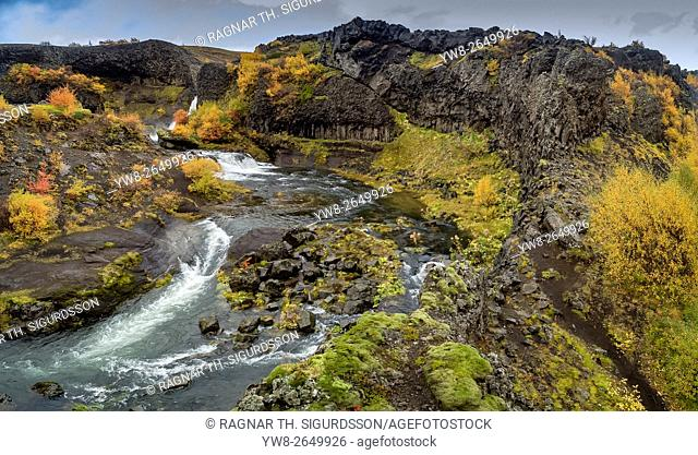 Aerial view of Gjaarfoss Waterfalls in the autumn, Thjorsardalur valley, Iceland. This image is shot with a drone