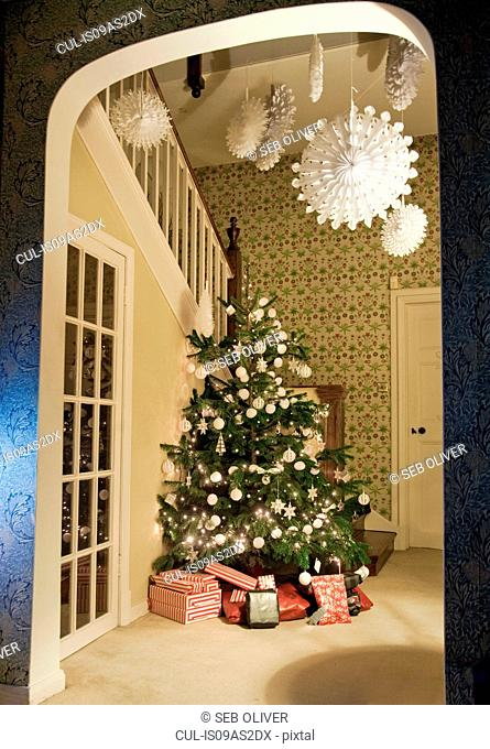 Decorated Christmas tree in hallway