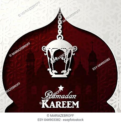 Vector illustration Silhouette of mosque and paper light on dark red background in paper window