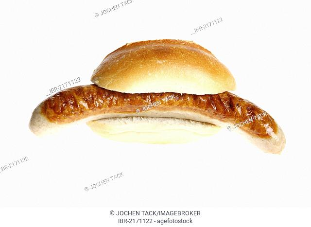 Fast food, grilled sausage in a bun