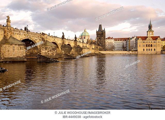 Charles Bridge with Vltava River and Old Town, Prague, Czech Republic