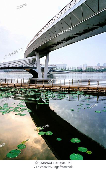 Taiyuan, Shanxi province, China - The view of Fenhe park in the daytime