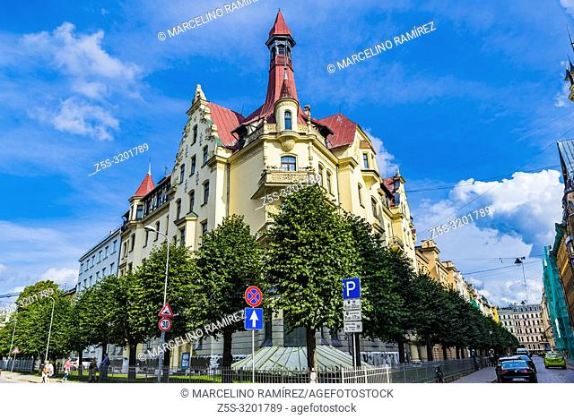 Art nouveau architecture in Riga - Building on the Alberta street, 12, Riga. Built in 1903. Konstantins Peksens lived in this house his last years