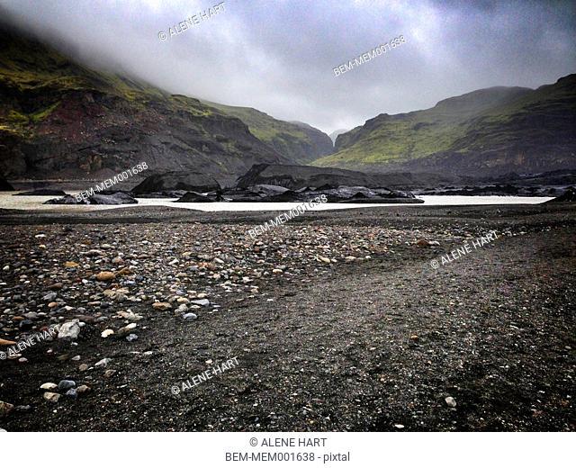 Mountains over Solheimajokull glacier, Reykjavik, Hofuoborgarsvaeoi, Iceland