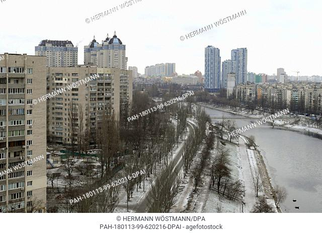 An aerial view of numerous housing blocks and skyscrapers left of the river Dnjepr in Kiev, Ukraine, 13 January 2018. · NO WIRE SERVICE · Photo: Hermann...