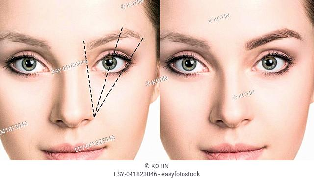 Eyebrows correction. Female face before and after eyebrows shape correction