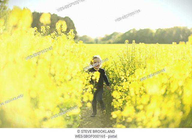Happy girl running in canola field