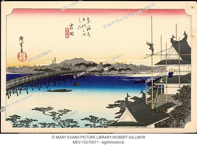 35 Yoshida - Bridge over the Toyo River, and in the right foreground workmen repairing the castle. This station flourished following the erection of the castle...