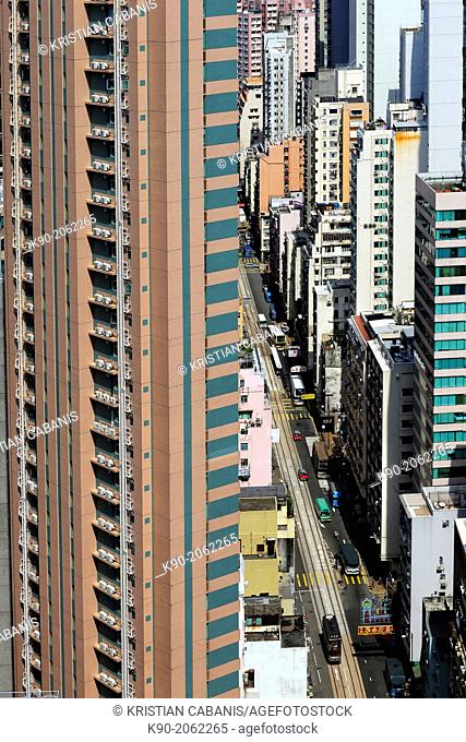 Aerial view of buildings and streets, Hong Kong Island, Hong Kong, China, East Asia