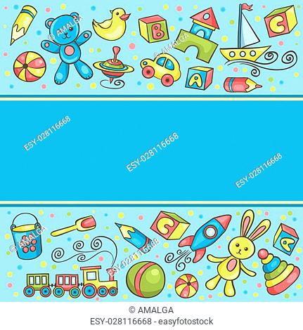 Card with children toys blue. Vector cartoon hand-drawn illustration