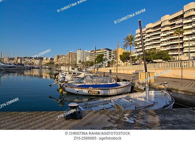 Marina with boats on a sunny day in December in Ibiza, Balearic islands, Spain