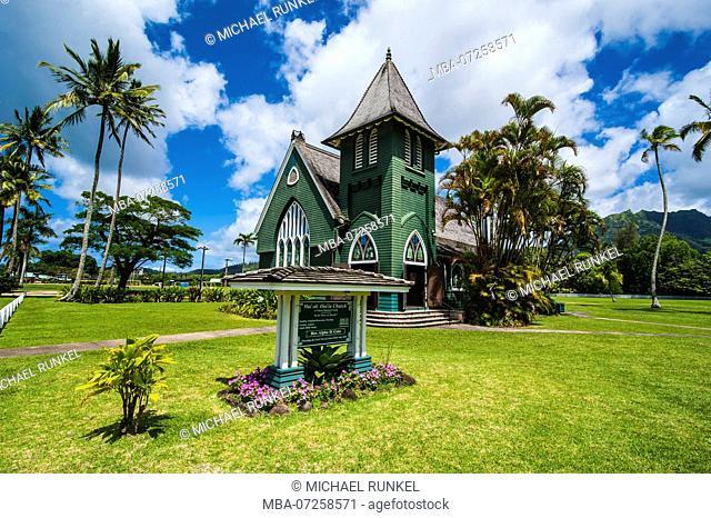 Wai`oli Hui`ia Church in Hanalai on the island of Kauai, Hawaii