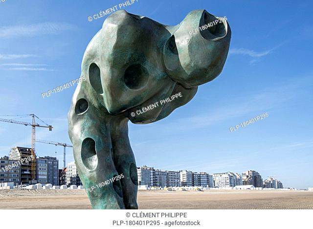 Sculpture Tomorrow Man Made by the Sea by artist Catherine François on groyne along the North Sea coast at Knokke-Heist, West Flanders, Belgium