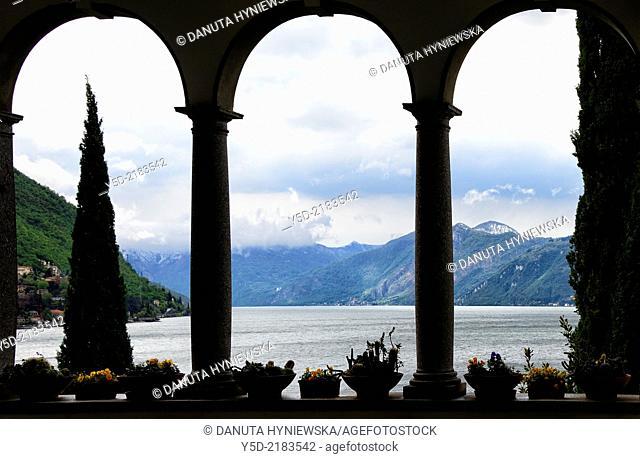 view for Lake Como from Villa Monastero, Varenna, Lombardy, Italy