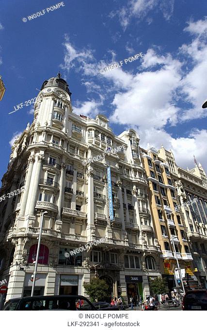 Buildings at Gran Via, Madrid, Spain