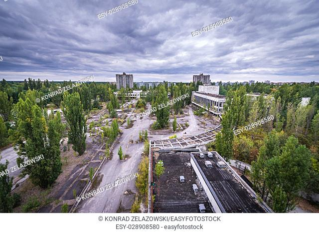 Main square seen from Polissya Hotel in Pripyat ghost city of Chernobyl Nuclear Power Plant Zone of Alienation in Ukraine