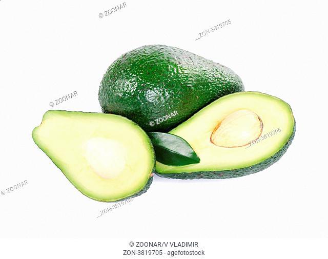 The fresh avocado isolated on white background