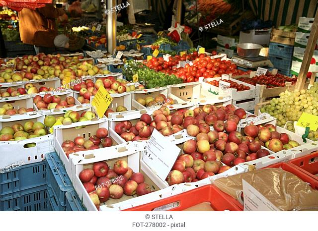 Assorted fruit and vegetables at market