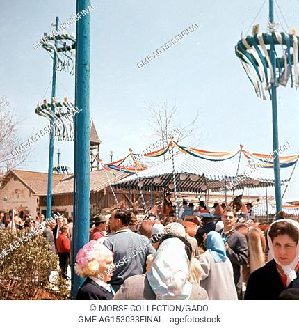 Scene of visitors at the Lowenbrau Beer Gardens restaurant in the Transportation Area at the New York World's Fair, Flushing Meadows-Corona, Queens, New York