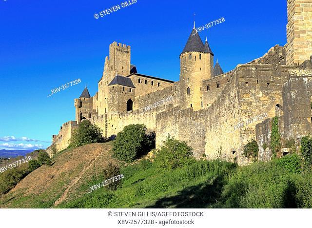 Medieval castle fortress at Carcassonne, Aude, Languedoc Roussillon, France a UNESCO world heritage site