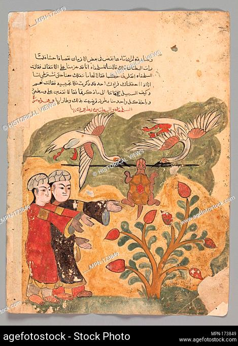 The Flight of the Tortoise, Folio from a Kalila wa Dimna. Object Name: Folio from an illustrated manuscript; Date: 18th century; Geography: Attributed to Egypt...
