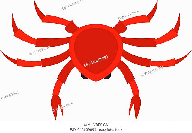 Crab icon flat isolated on white background vector illustration
