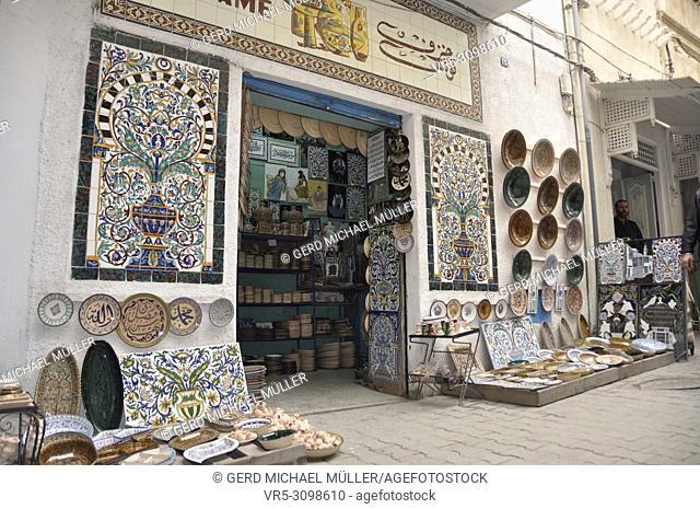 Tunesia: Beautifull ceramic mosaic in a souk in the medina of TUnis