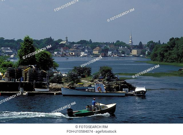 Portsmouth, NH, New Hampshire, Lobster boat docked along the Piscataqua River in Portsmouth