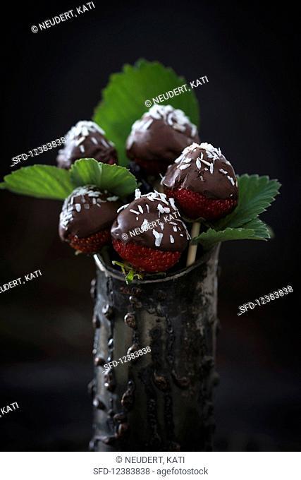 Chocolate-coated strawberries on sticks