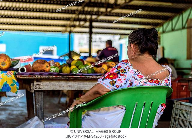 Mayan seller in the central market in Acanceh, Yucatan state, Mexico