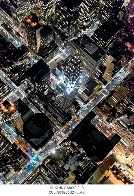 Aerial view from helicopter of Midtown, Chrysler Building, New York, USA