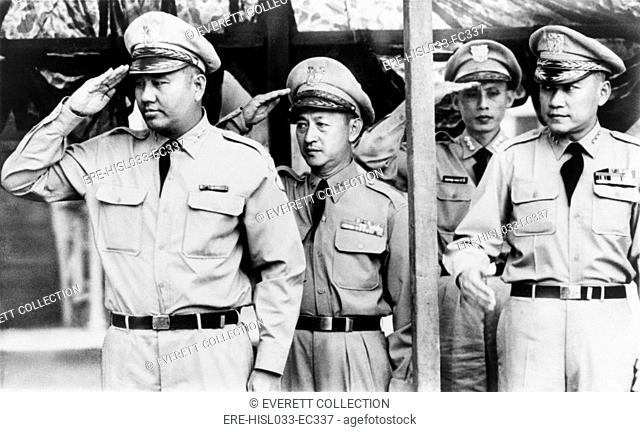 South Vietnamese Generals who led the 1963 Coup against President Ngo Dinh Diem. From left: Generals Duong Van Minh, Le Van Kim, and unidentified officer