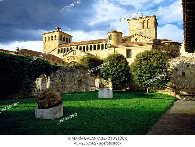 Modern sculptures in Jesus Otero Art Center and view of the Collegiate church. Santillana del Mar, Cantabria, Spain