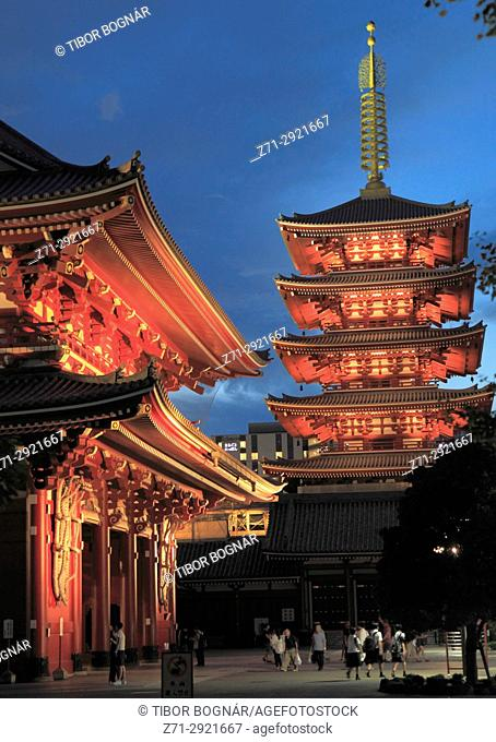 Japan, Tokyo, Asakusa, Sensoji Temple, Hozomon Gate, Five-story Pagoda,