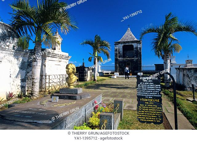 Tomb of the famous french poet Leconte de Lisle, cemetery of Saint Paul, La Reunion island (France), Indian Ocean